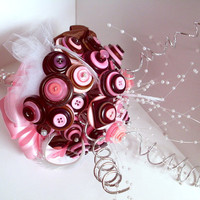 Chocolate Brown Button Bouquet, Wedding, Alternative, Non traditional