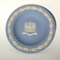 Wedgwood Jasperware Blue Trinket Dish, Candy Dish, Key Holder, City of London Coat of Arms