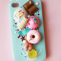 baby blue iphone4 case in handmade , Ice cream with Donuts , miniature fake food iphone4/4S cover