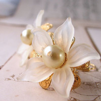 Pale yellow shabby chic earrings with vintage lucite flowers