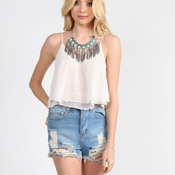 Double Layered Flowy Crop Tank - Cream