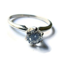 Antique Engagement Ring, Diamond & White Gold Vintage Wedding Ring, Size 6
