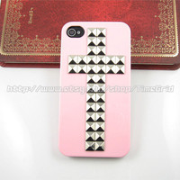 Pink Iphone 4 4s case,Cross Silver studded iphone 4 4s case, stud studs Hard Cover Skin Iphone 4g 4s Case