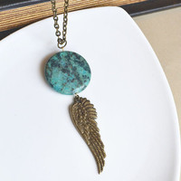 Turquoise boho Necklace. Angel Wing Bohemian Layering Necklace.