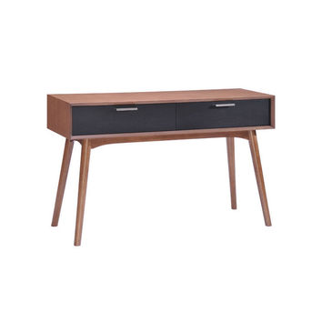 Walnut & Black Console Table
