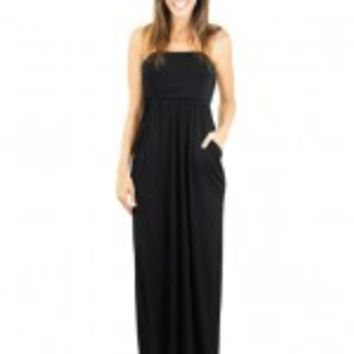 Strapless Black Maxi Dress with Pockets