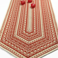 Large Valentine Table Runner, Quilted Lace Tablerunner