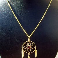 Gold & Garnet Dream catcher necklace