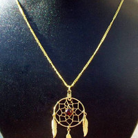 Gold &amp; Garnet Dream catcher necklace