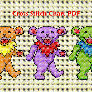 Dancing Bears Cross Stitch Pattern PDF