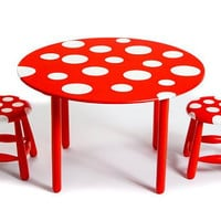 Childrens Red And White Polka Dot Table And by emenyscreations