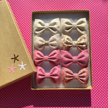 Limited addition Valentine Seaside Sparrow hair bow set of eight.  Valentine Mini hair bow set Hair bow gift hair clip girl gift for her bow