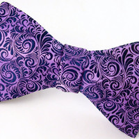 Blue &amp; Purple Mens Silk Bow Tie - &#x27;Plume II&#x27;