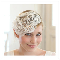 Floral lace mini veil headband in cream or ivory by woomi on Etsy