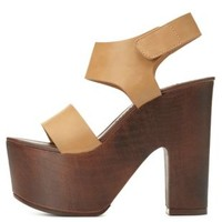 Chunky Platform Sandals by Charlotte Russe - Tan