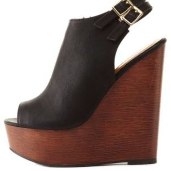 Double Slingback Peep Toe Wedges by Charlotte Russe - Black