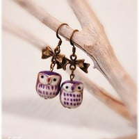 Purple Owls earrings handpainted porcelain beads by lePetitFoyer