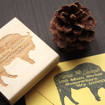 Woodland American Buffalo Return Address Stamp - Unique Address Stamp - The Great Outdoors - 3 x 3 Stamp