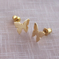 Butterfly Post Earrings Gold Vermeil Sterling Silver, Christmas Gift, Bridal