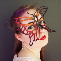 Butterfly leather mask in Orange Red and Black by TomBanwell