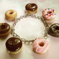 box of donuts polymer clay charm bracelet