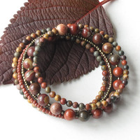 Beaded bracelet stack - Natural stone beads in Fall colors - 5 stacking bangles in one
