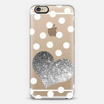 GLITTER LOVE HEART IN SILVER WITH DOTS - CRYSTAL CLEAR PHONE CASE iPhone 6 case by Nika Martinez | Casetify