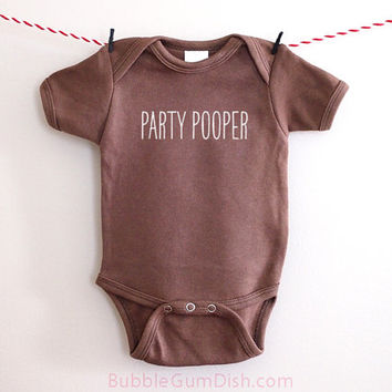 Party Pooper Baby Bodysuit Brown Onepiece Baby Newborn Outfit Embroidered Baby Shower Baby Gift for New Mom New Dad