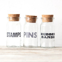 Retro Labeled Storage Jar.  Stamps OR Pins