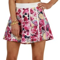 Pink Bed Of Roses Skater Skirt