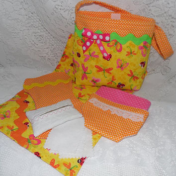 """Colorful Doll Diaper Bag Set Includes Bag, Diapers, Changing Pad, Burp Cloth, Wipes & Case for 13"""" - 15"""" Dolls"""