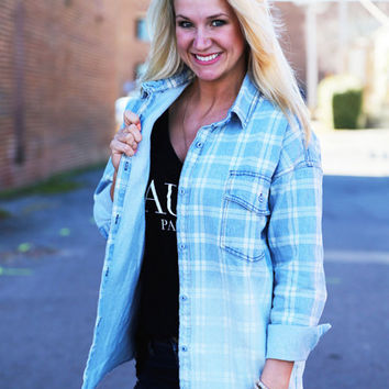 Structured Blue + White Button Up