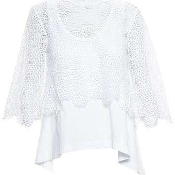 Guipure-lace and Jersey Top - CHLOÉ