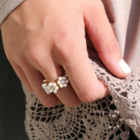 Gypsy Soul Floral Pearl Ring - Gold
