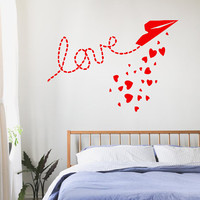Happy Valentine's Day Wall Decals Love Wording Plane Flying Many Hearts Sky Vinyl Decal Sticker Home Decor Art Mural Interior Design KG686