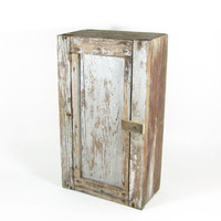Vintage Barnwood Cabinet with Shelf and Door or Crate with Hinged Lid Silver White