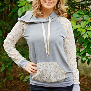 Dream On Hoodie with Lace - Grey /