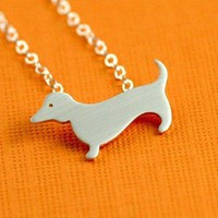 Dachshund Love Necklace in Silver by ANORIGINALJEWELRY on Etsy
