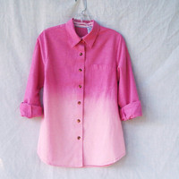 Ombre dip dye bleached button down shirt / grunge / long sleeve pink chambray / womens&#x27; size small medium