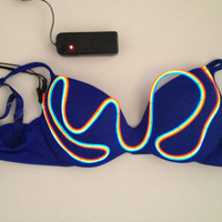 LIGHT UP Bra:  3 colors of eL wire hand sewn WAVY pattern with strobe effect / 3 settings / el wire bra