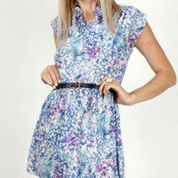Vintage Blue Floral Mini Dress