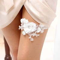 Satin blossom garter  white beaded satin petals on by woomi