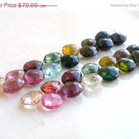 51% Off Outstanding Tourmaline Gemstone Briolette Faceted Heart Multi Pink Green Yellow 8 to 9mm 14 beads