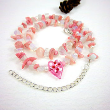 Valentines Day Coral Pearl Gemstone and Glass Heart Necklace Kawaii Fantasy Jewelry