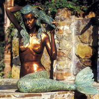Bronze Patina Finish Mermaid Fountain (Large) - Mermaids Unlimited