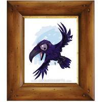 Angry Raven Whimsical Art Painting Print - Alaska USA