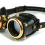 STEAMPUNK GOGGLES made of solid polished brass black leather Assault design no. 1