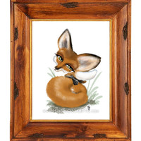 Sweet Red Fox Whimsical Painting Print - Alaska USA