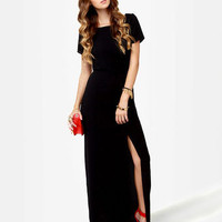 Basic Maxi Dress - Black Dress - Backless Dress - $47.00