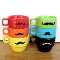 Upcycled Modern Stacking Mustache Espresso Mugs by UptownAvenue